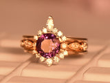 Round Alexandrite Ring Bridal Trio Sets Contour Moissanite Band 14K Rose Gold 6.5mm