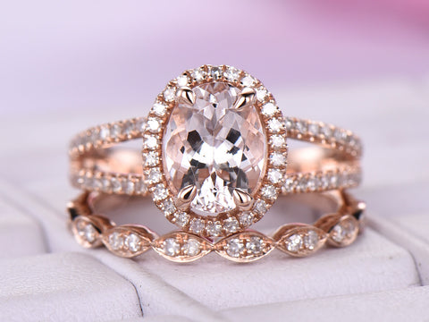 Oval Morganite Wedding Ring Sets Split Shank Art Deco Diamond Bands 14K Rose Gold 6x8mm