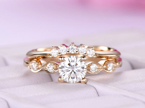 Round Moissanite Wedding Ring Sets Contour Moissanite band 14K Yellow Gold 5mm