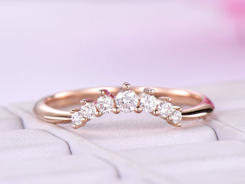 Graduated  Round Diamond Chevron Wedding Ring 14K Rose Gold