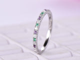 Amethyst Emerald Diamond Band Feb/May Birthstone Half Eternity Ring 14K White Gold