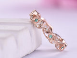 Alexandrite Diamond Wedding Band Eternity Vine Ring 14K Rose Gold