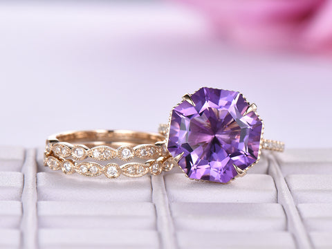 Octagonal Amethyst Ring Trio Sets Art Deco Bands Milgrain Under Gallery 14K Yellow Gold 13mm