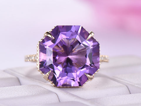 Octagonal Amethyst Ring Art Deco Bands Milgrain Under Gallery 14K Yellow Gold 13mm