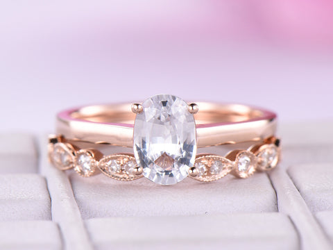 Oval White Topaz Wedding Ring Sets  Art Deco Diamond Wedding Band 14K Rose Gold 6x8mm