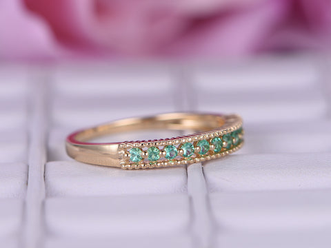 Emerald Wedding Band Half Eternity Anniversary Ring 14K Yellow Gold