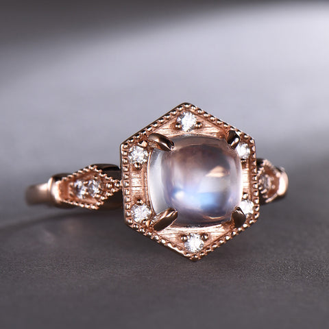 Cushion Moonstone Engagement Ring Pave Diamond 14k Rose Gold 7mm