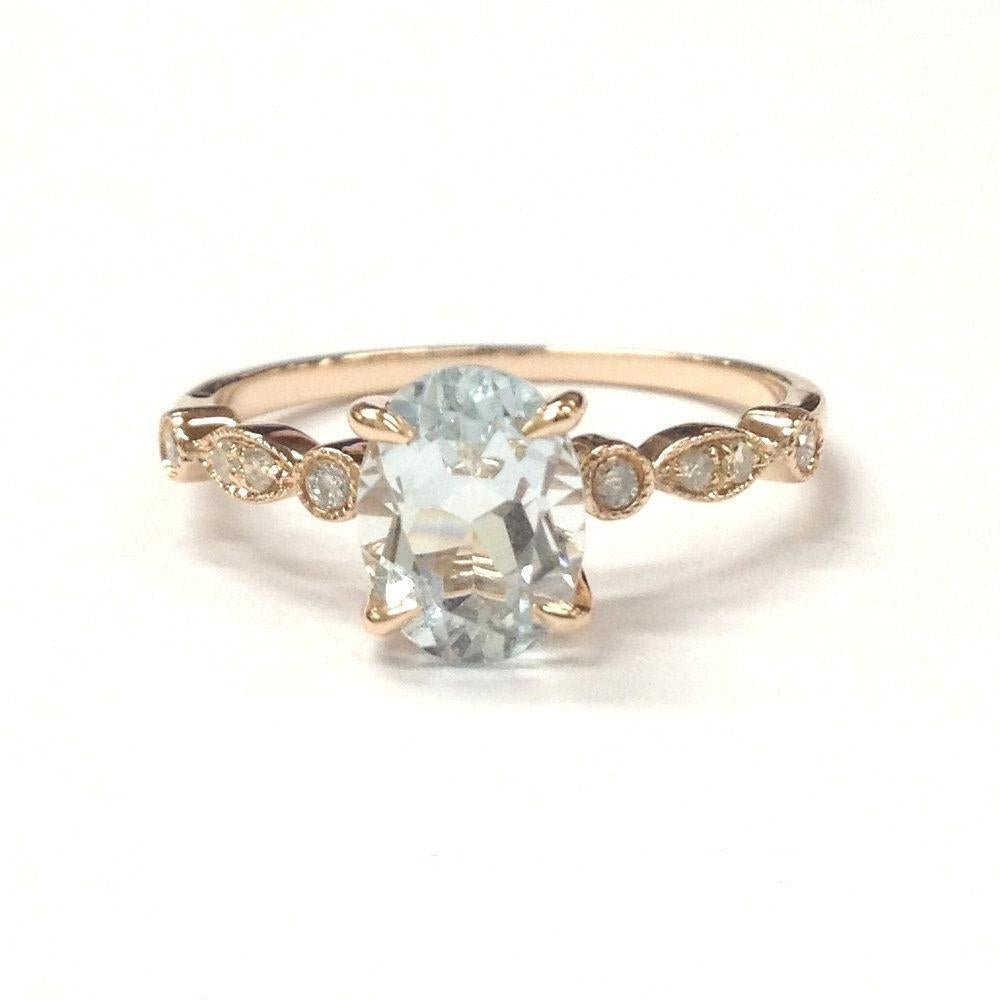 Oval Aquamarine Engagement Ring Pave Diamond Wedding 14K Rose Gold 6x8mm Claw Prong Antique Art Deco