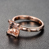 Ready to Ship - Princess Morganite Engagement Ring Moissanite 14K Rose Gold 6.5mm - Lord of Gem Rings - 3