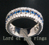 Round Blue Sapphire/Diamond Wedding Band Eternity Anniversary Ring 14k White Gold 1.10ctw - Lord of Gem Rings - 3