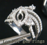 Diamond Engagement Semi Mount Ring 14K White Gold Setting Marquise 4x8mm - Lord of Gem Rings - 3
