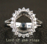 Diamond Engagement Semi Mount Ring 14K White Gold Setting Oval 8x10mm - Lord of Gem Rings - 3