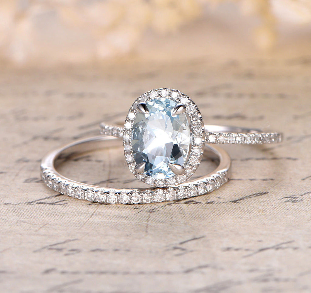 Oval Aquamarine Engagement Ring Sets Pave Diamond Wedding 14K White Gold 7x9mm - Lord of Gem Rings - 3
