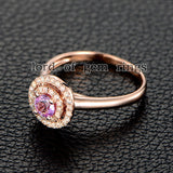 Round Pink Sapphire Engagement Ring Pave VS Diamond Wedding 14K Rose Gold 4mm Double HALO - Lord of Gem Rings - 3