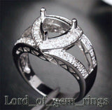 Diamond Engagement Semi Mount Ring 14K White Gold Setting Trillion 8mm - Lord of Gem Rings - 3