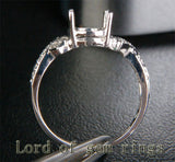 Diamond Engagement Semi Mount Ring 14K White Gold Oval 7x8mm - Lord of Gem Rings - 3