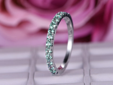 Green Alexandrite Wedding Band Half Eternity Anniversary Ring 14K White Gold