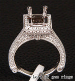 Diamond Engagement Semi Mount Ring 14K White Gold Setting Princess 5.25-6.25mm - Lord of Gem Rings - 3