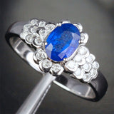 Oval Blue Sapphire Engagement Ring Diamond Wedding 14K White gold 1.42CT - Lord of Gem Rings - 3