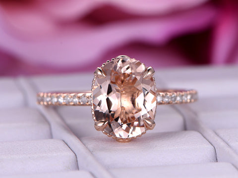 Oval Morganite  Ring Pave Diamond  14K Rose Gold Milgrain Under Gallery7x9mm