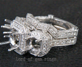 Round Cut Semi Mount 18K White Gold 2.52CTW Diamonds Antique Wedding Ring Sets 6# - Lord of Gem Rings - 3