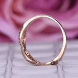 White/Black Diamond Wedding Band Half Eternity Infinite Love Ring 14K Rose Gold