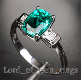 Oval Emerald Engagement Ring Pave Diamond Wedding 14k White Gold - Lord of Gem Rings - 3