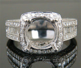 VS Baguette Diamond Engagement Semi Mount Ring 14K White Gold Setting Round 9mm - Lord of Gem Rings - 3