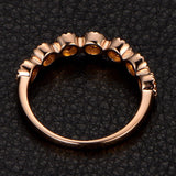 Citrine Wedding Band Half Eternity Anniversary Ring  14K Rose Gold 3mm Round - Lord of Gem Rings - 3