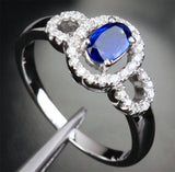 Oval Sapphire Engagement Ring Pave Diamond Wedding 14k White Gold .91ct - Lord of Gem Rings - 3