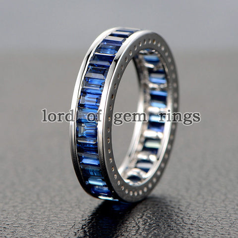 Emerald Cut Blue Sapphire Wedding Band Eternity Anniversary Ring 14K White Gold - Lord of Gem Rings - 3