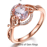 Oval Morganite Engagement Ring Diamonds 14K Rose Gold 6x8mm Floral - Lord of Gem Rings - 3