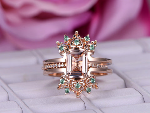 Emerald Cut Morganite Engagement Ring Sets Alexandrite Tiara Ring Guard 14K Rose Gold 6x8mm