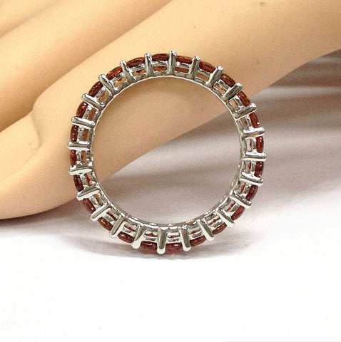 garnet wedding band eternity anniversary ring 14k white gold lord of gem rings