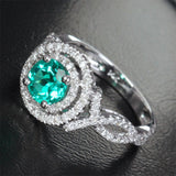 Round Emerald Engagement Ring Pave Diamond Wedding 14k White Gold 6.6mm Double Halo - Lord of Gem Rings - 3