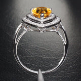 Pear Citrine Engagement Ring Pave Diamond Wedding 14K White Gold 7x9mm Double Halo - Lord of Gem Rings - 3