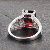 Cushion Garnet Engagement Ring Pave Diamond Wedding 14K White Gold 8x10mm  Antique Style - Lord of Gem Rings - 3