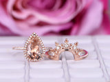 Pear Morganite Engagement Ring Sets Moissanite Tiara Wedding band 14K Rose Gold 8x12mm