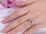 Oval Morganite Engagement Ring Pave Diamond Wedding Infinite Love Shank 14K Rose Gold 10x12mm