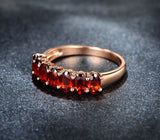 Oval Red Garnet Ring 14K Rose Gold Wedding Band 3x5mm 7Stones - Lord of Gem Rings - 3