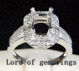 Diamond Engagement Semi Mount ring 14k white gold Setting Emerald cut 6x8mm - Lord of Gem Rings - 3