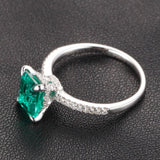 Emerald Shape Emerald Engagement Ring Pave Diamond Wedding 14K White Gold 6x8mm CLAW PRONGS - Lord of Gem Rings - 3