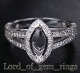 Diamond Engagement Ring Semi Mount 14K White Gold Setting Marquise 5x10mm - Lord of Gem Rings - 3