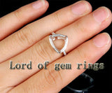 Diamond Engagement Semi Mount Ring 14K White Gold Setting Trillion 11mm - Lord of Gem Rings - 3