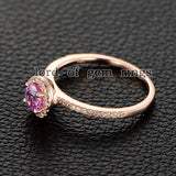 Round Pink Sapphire Engagement Ring Pave Diamond Wedding 14K Rose Gold 4.5mm - Lord of Gem Rings - 3