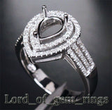 Diamond Engagement Semi Mount Ring 14K White Gold Setting Pear 6x8mm - Lord of Gem Rings - 3