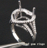 Diamond Engagement Semi Mount Ring 14K White Gold Setting Heart Shaped 10mm - Lord of Gem Rings - 3