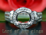 Diamond Engagement Semi Mount Ring 14K White Gold Setting Round 7.5-8mm - Lord of Gem Rings - 3