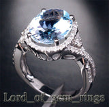Oval Aquamarine Engagement Ring Pave Diamond Wedding 14K White Gold,10x13mm - Lord of Gem Rings - 3