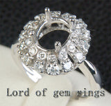 Flower 7x8.5mm Oval Cut 14K White Gold .38ct Diamonds Engagement Semi Mount Ring - Lord of Gem Rings - 3